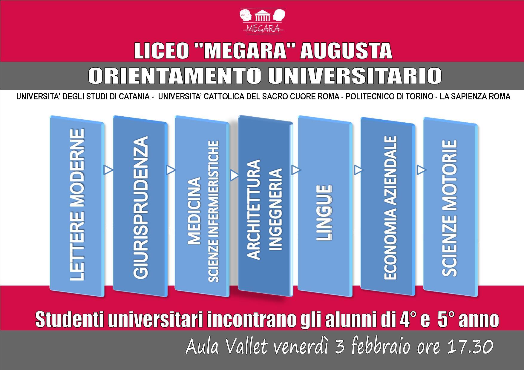 """ORIENTAMENTO UNIVERSITARIO AL LICEO """"MEGARA"""""""