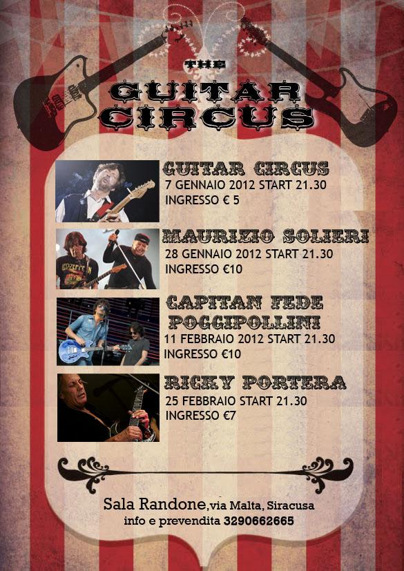 """PROGETTO """"GUITAR CIRCUS"""". A SIRACUSA IL MEGLIO DEL ROCK MADE IN ITALY"""