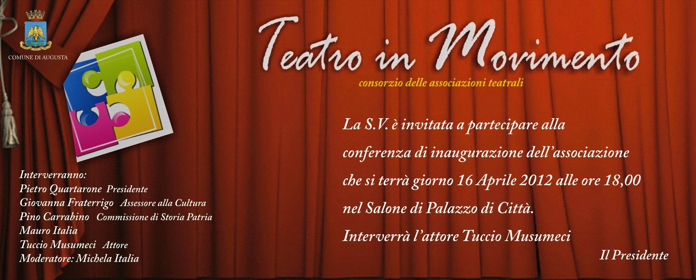 """NASCE """"TEATRO IN MOVIMENTO"""". ALLA PRESENTAZIONE TUCCIO MUSUMECI"""