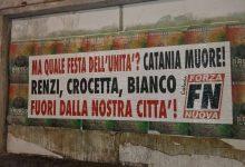 CATANIA| Striscioni contro Renzi, Bianco e Crocetta