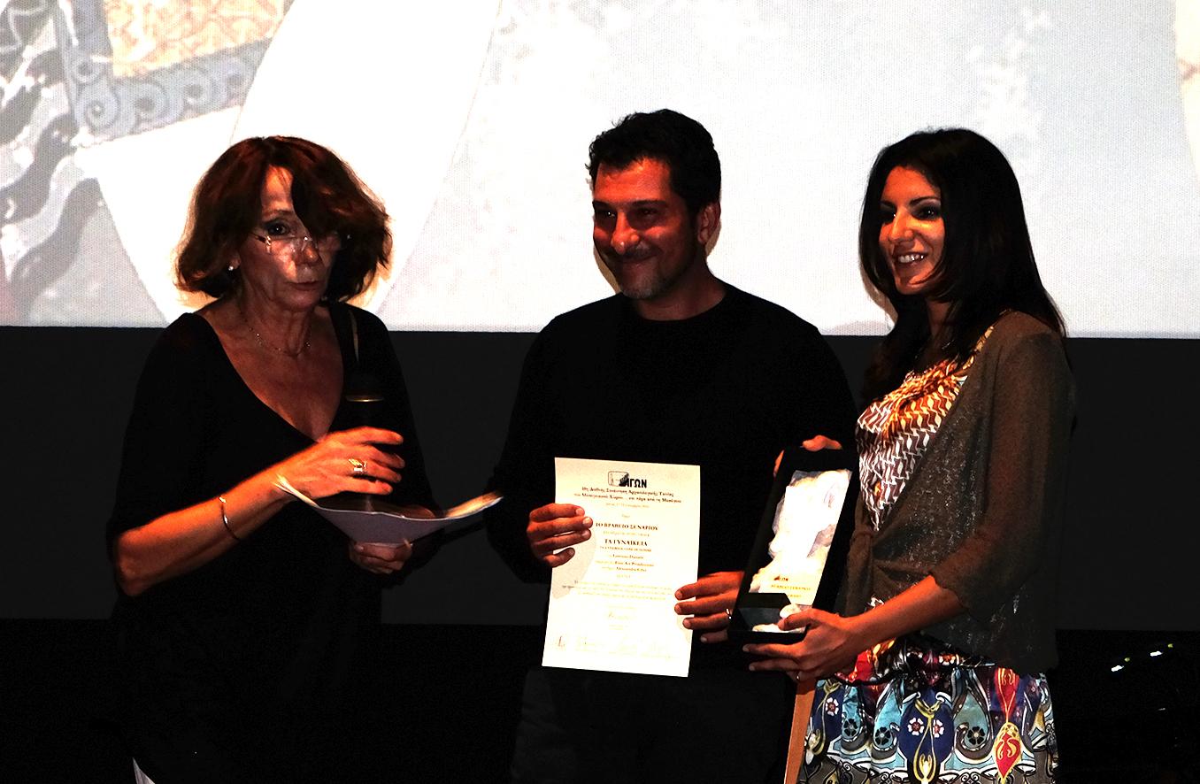 da sinistra_Memi Spiratou direttrice dell'Agon Film Festival, il regista Lorenzo Daniele, la sceneggiatrice Alessandra Cilio.JPG