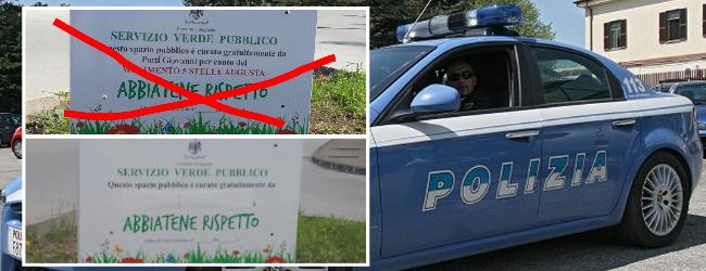 Augusta| La Polizia ripristina la legalità elettorale. Oscurata aiuola usata per la propaganda M5S