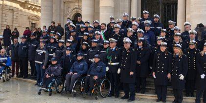 Siracusa  Festa Polizia Municipale, schieramento in Piazza Duomo