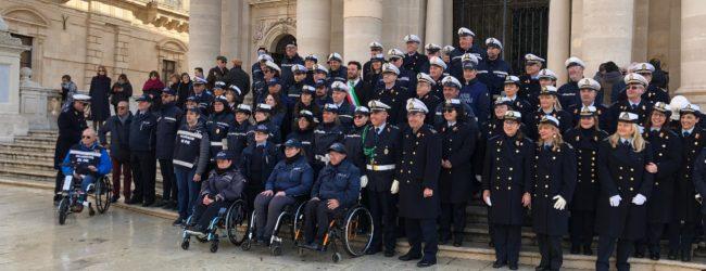 Siracusa| Festa Polizia Municipale, schieramento in Piazza Duomo