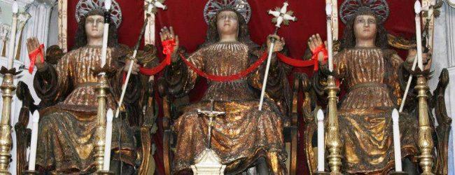 Lentini   Quasi al termine il restauro delle statue dei tre santi martiri della chiesa della Fontana