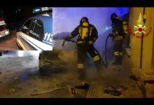 Priolo Gargallo  La polizia di stato interviene per l'incendio di un'autovettura
