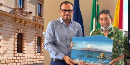 Melilli | Il megarese Vittorio Ribaudo dona un suo dipinto al Sindaco