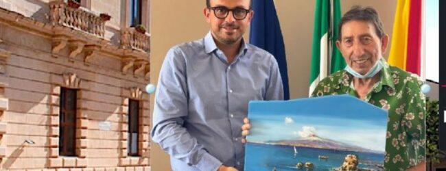 Melilli   Il megarese Vittorio Ribaudo dona un suo dipinto al Sindaco