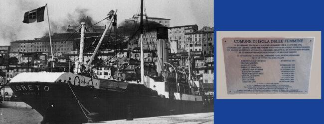 Palermo | Isola delle Femmine, scopertura lapide nel 79° anniversario dell'affondamento del piroscafo Loreto